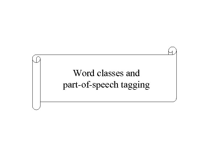 Word classes and part-of-speech tagging