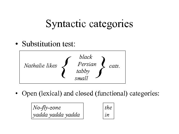 Syntactic categories • Substitution test: Nathalie likes { black Persian tabby small } cats.