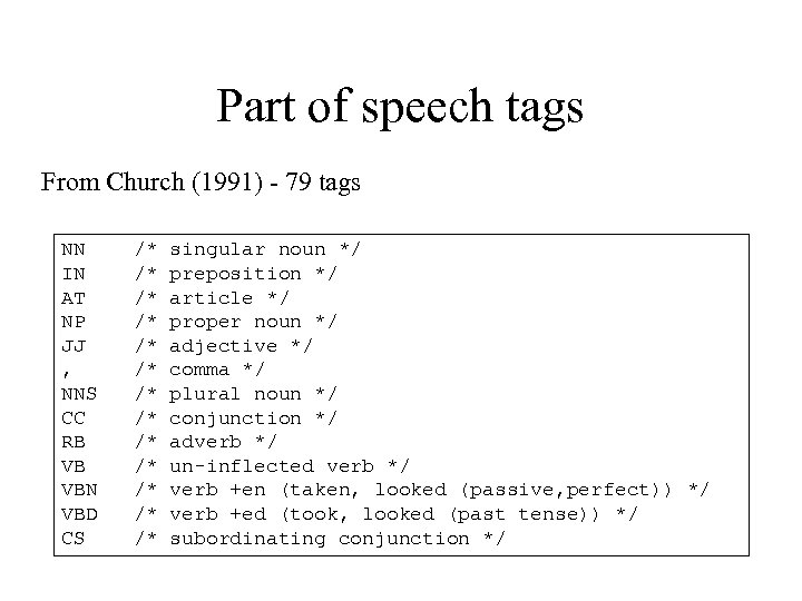 Part of speech tags From Church (1991) - 79 tags NN IN AT NP