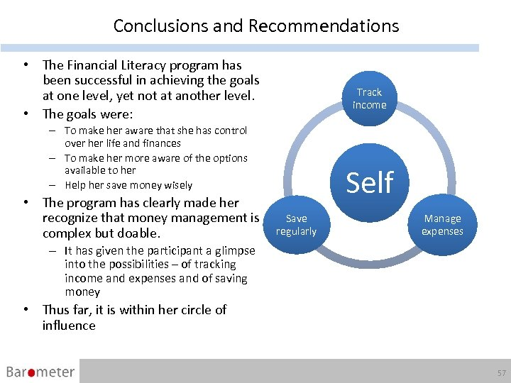 Conclusions and Recommendations • The Financial Literacy program has been successful in achieving the
