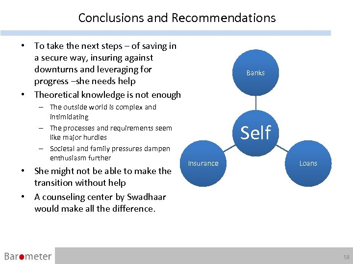 Conclusions and Recommendations • To take the next steps – of saving in a