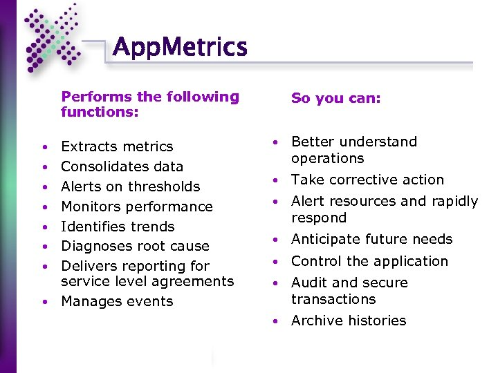 App. Metrics Performs the following functions: Extracts metrics Consolidates data Alerts on thresholds Monitors
