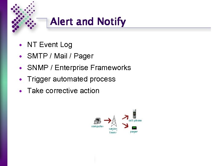 Alert and Notify NT Event Log SMTP / Mail / Pager SNMP / Enterprise