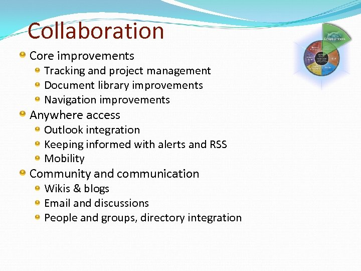 Collaboration Core improvements Tracking and project management Document library improvements Navigation improvements Anywhere access
