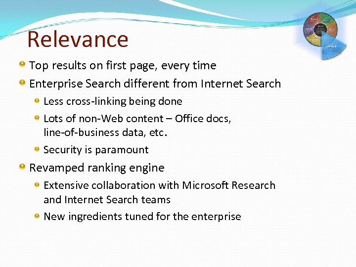 Relevance Top results on first page, every time Enterprise Search different from Internet Search