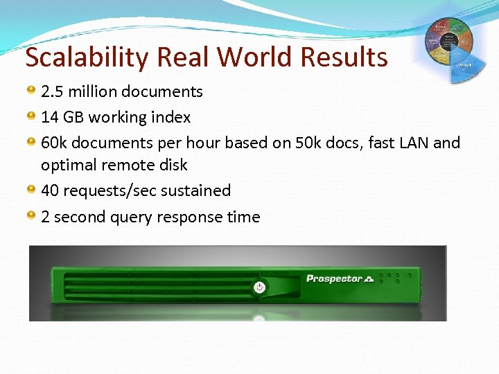 Scalability Real World Results 2. 5 million documents 14 GB working index 60 k