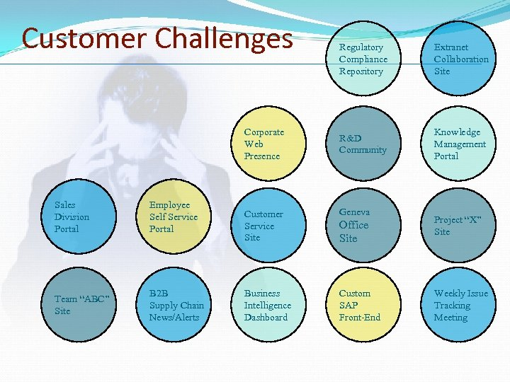 "Customer Challenges Corporate Web Presence Sales Division Portal Employee Self Service Portal Team ""ABC"""