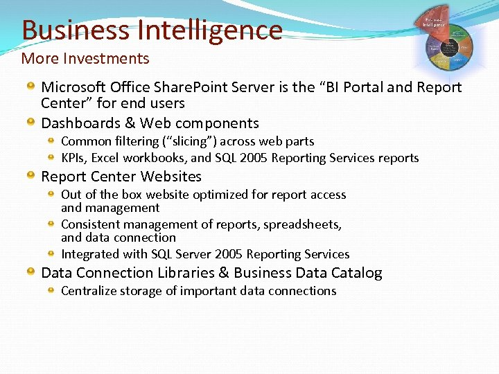 "Business Intelligence More Investments Microsoft Office Share. Point Server is the ""BI Portal and"