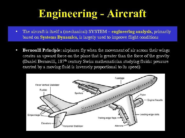 Engineering - Aircraft • The aircraft is itself a (mechanical) SYSTEM – engineering analysis,
