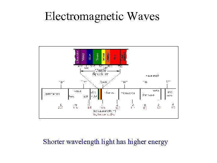 Electromagnetic Waves Shorter wavelength light has higher energy