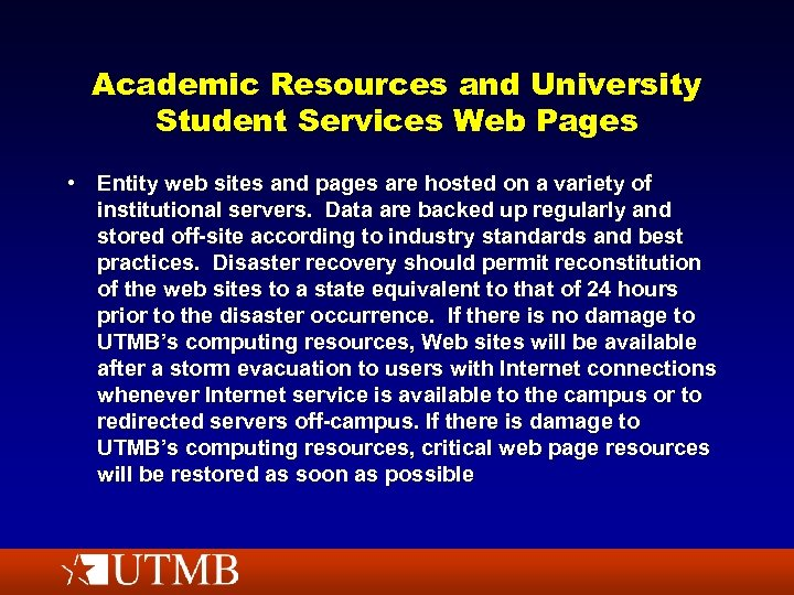 Academic Resources and University Student Services Web Pages • Entity web sites and pages