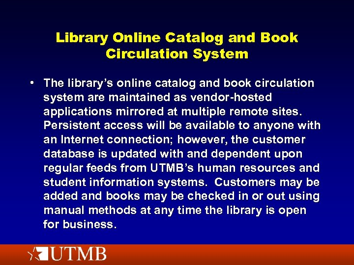Library Online Catalog and Book Circulation System • The library's online catalog and book