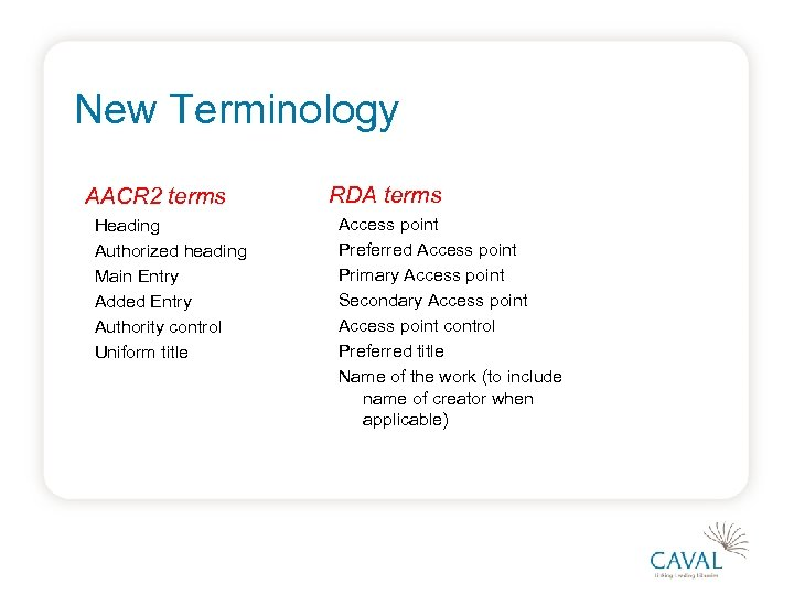 New Terminology AACR 2 terms Heading Authorized heading Main Entry Added Entry Authority control