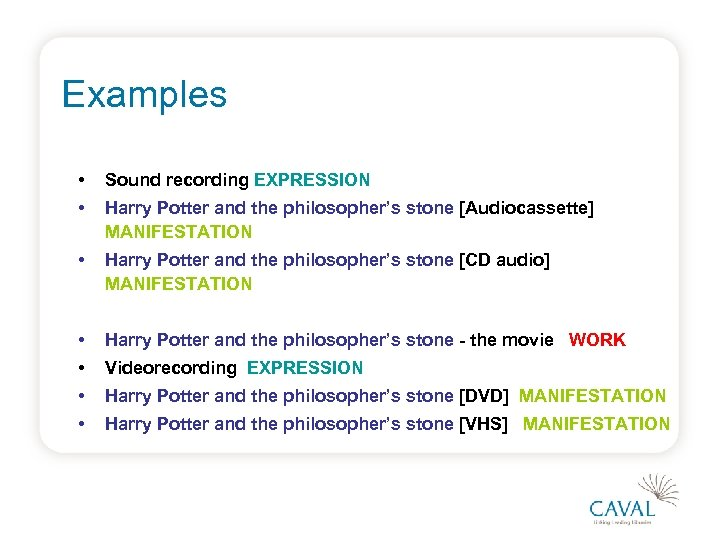 Examples • Sound recording EXPRESSION • Harry Potter and the philosopher's stone [Audiocassette] MANIFESTATION