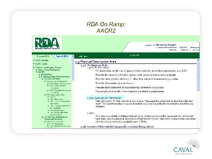 RDA On Ramp: AACR 2