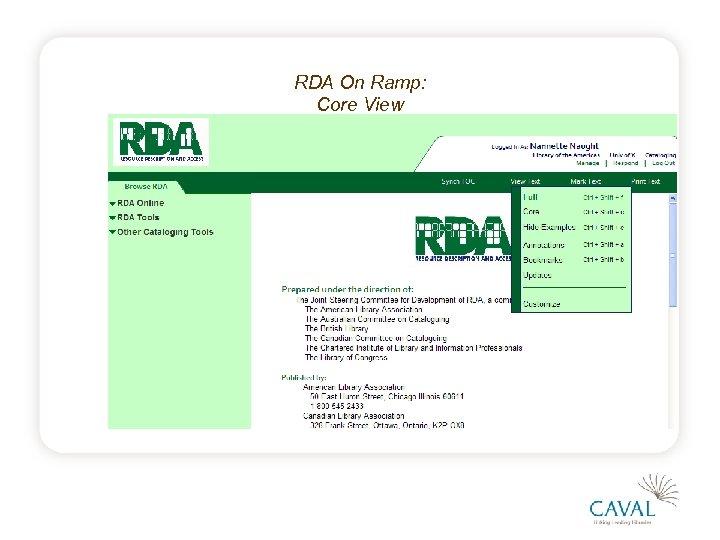 RDA On Ramp: Core View