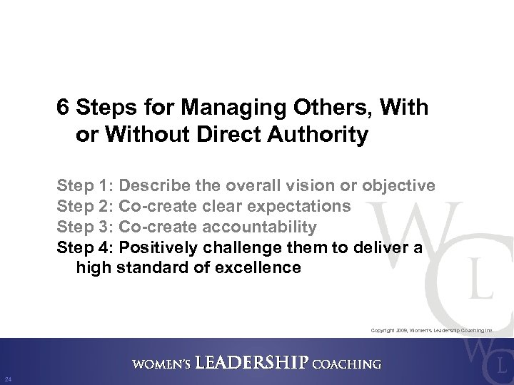 6 Steps for Managing Others, With or Without Direct Authority Step 1: Describe the