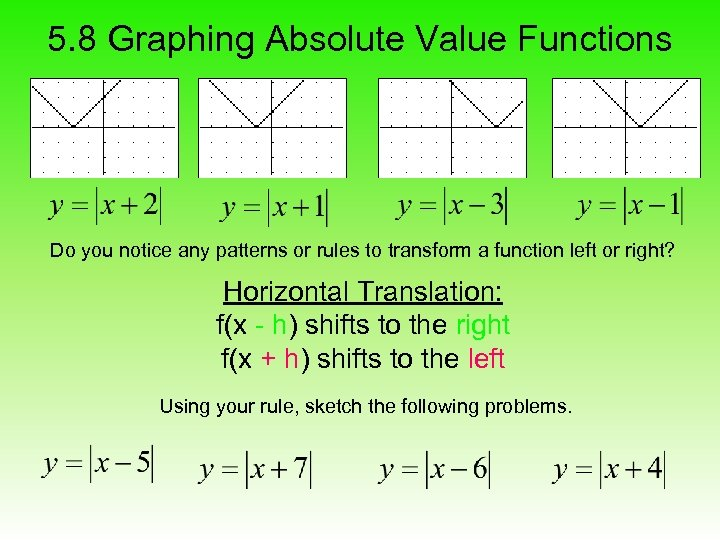 5. 8 Graphing Absolute Value Functions Do you notice any patterns or rules to