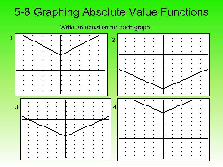 5 -8 Graphing Absolute Value Functions Write an equation for each graph. 1 2