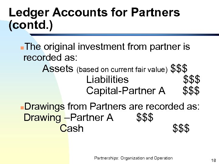 Ledger Accounts for Partners (contd. ) The original investment from partner is recorded as: