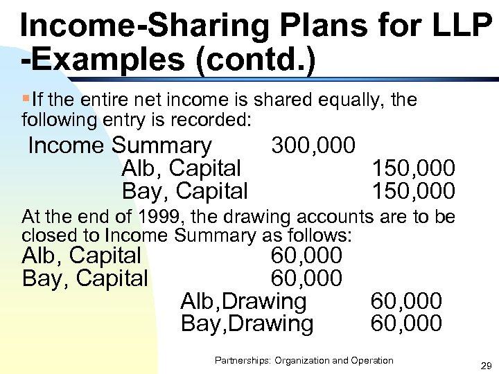 Income-Sharing Plans for LLP -Examples (contd. ) §If the entire net income is shared