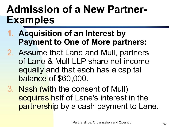 Admission of a New Partner. Examples 1. Acquisition of an Interest by Payment to