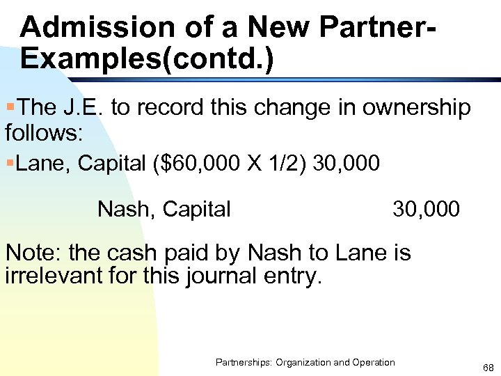 Admission of a New Partner. Examples(contd. ) §The J. E. to record this change