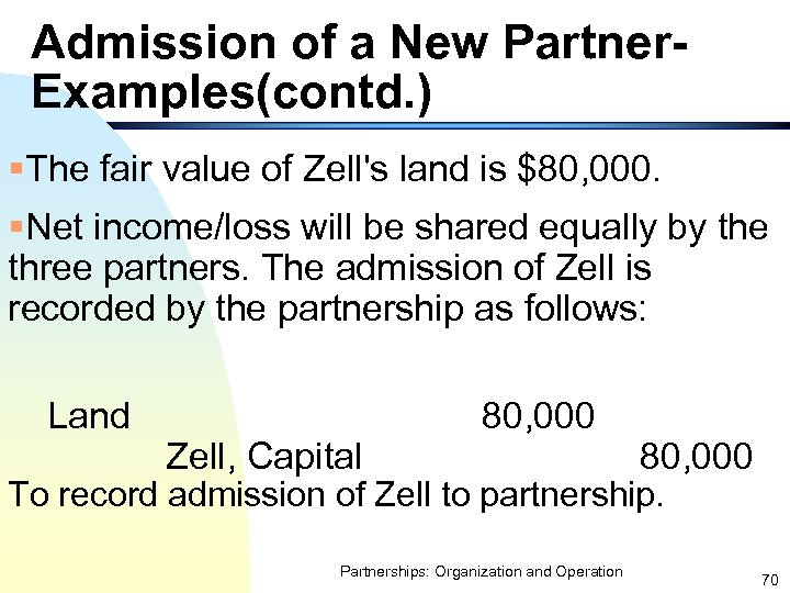 Admission of a New Partner. Examples(contd. ) §The fair value of Zell's land is