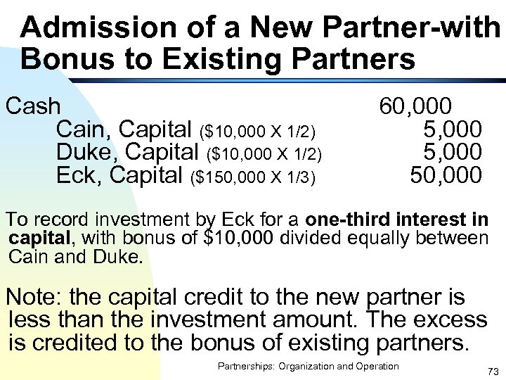 Admission of a New Partner-with Bonus to Existing Partners Cash Cain, Capital ($10, 000