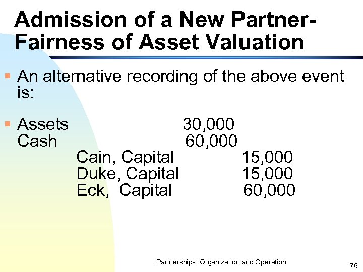 Admission of a New Partner. Fairness of Asset Valuation § An alternative recording of