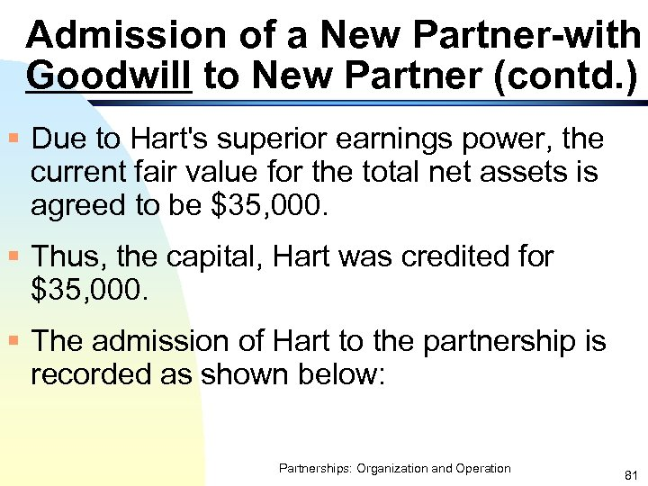 Admission of a New Partner-with Goodwill to New Partner (contd. ) § Due to