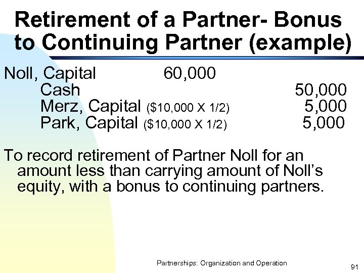 Retirement of a Partner- Bonus to Continuing Partner (example) Noll, Capital 60, 000 Cash