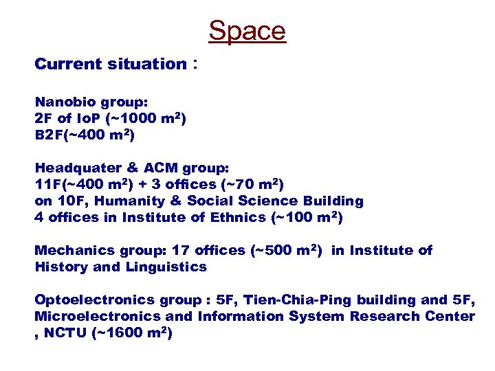 Space Current situation: Nanobio group: 2 F of Io. P (~1000 m 2) B
