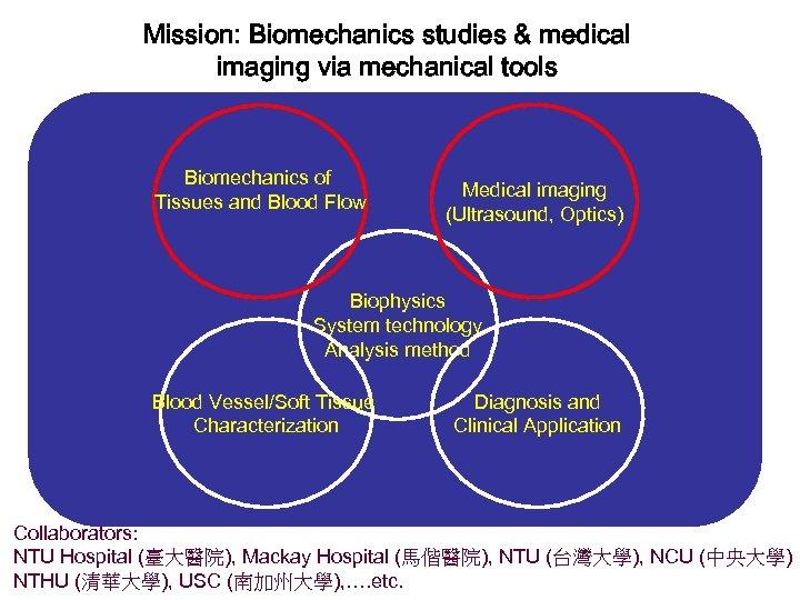 Mission: Biomechanics studies & medical imaging via mechanical tools Biomechanics of Tissues and Blood