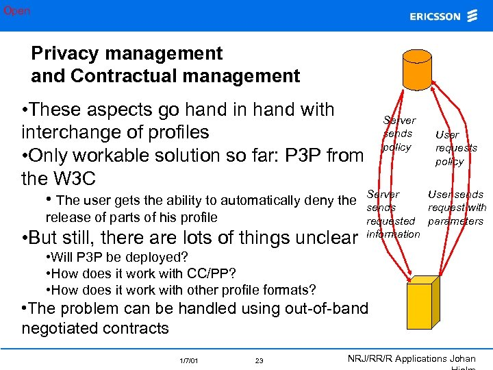 Open Privacy management and Contractual management • These aspects go hand in hand with