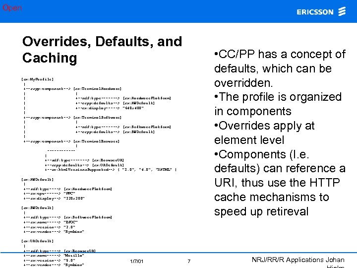 Open Overrides, Defaults, and Caching • CC/PP has a concept of defaults, which can
