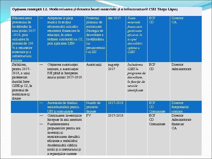 Opțiunea strategică 1. 2. Modernizarea şi dotarea bazei materiale şi a infrastructurii CSEI Târgu