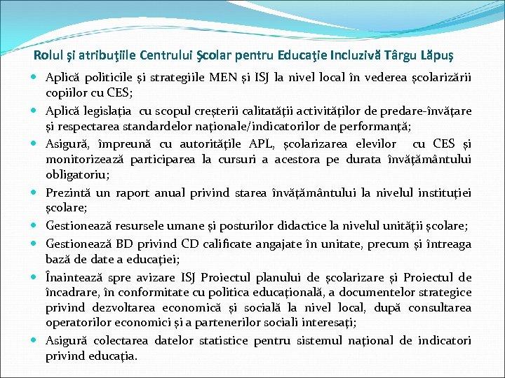 Rolul şi atribuţiile Centrului Şcolar pentru Educaţie Incluzivă Târgu Lăpuş Aplică politicile şi strategiile