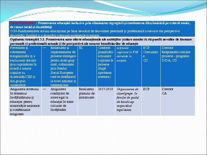 Ţinta strategică 3: Promovarea educaţiei incluzive prin eliminarea segregării şi combaterea discriminării pe criterii