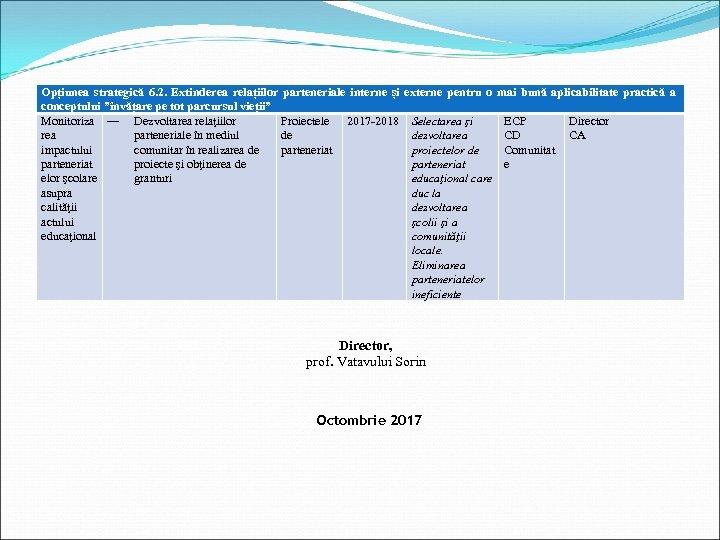 """Opțiunea strategică 6. 2. Extinderea relațiilor parteneriale interne și conceptului """"învățare pe tot parcursul"""