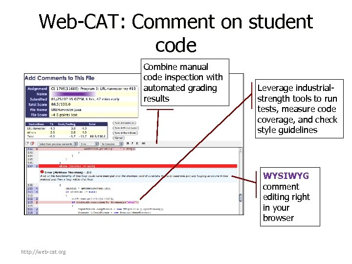 Web-CAT: Comment on student code Combine manual code inspection with automated grading results Leverage