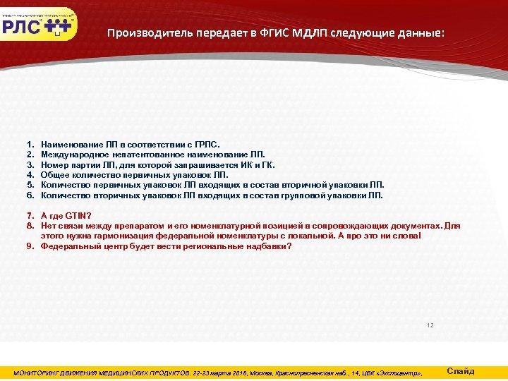 Производитель передает в ФГИС МДЛП следующие данные: 1. 2. 3. 4. 5. 6. Наименование