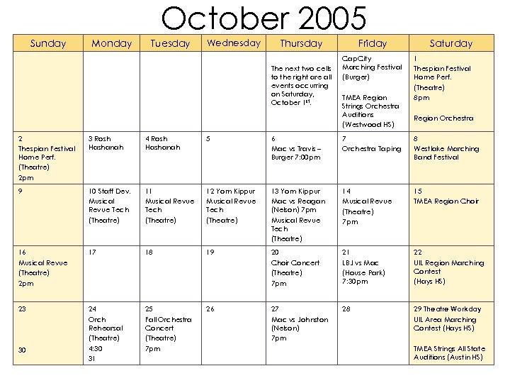 2005 -2006 Fine Arts Calendar August 2005