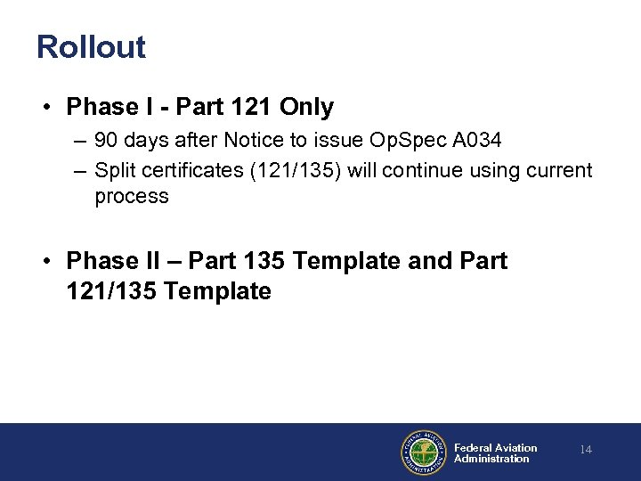Rollout • Phase I - Part 121 Only – 90 days after Notice to