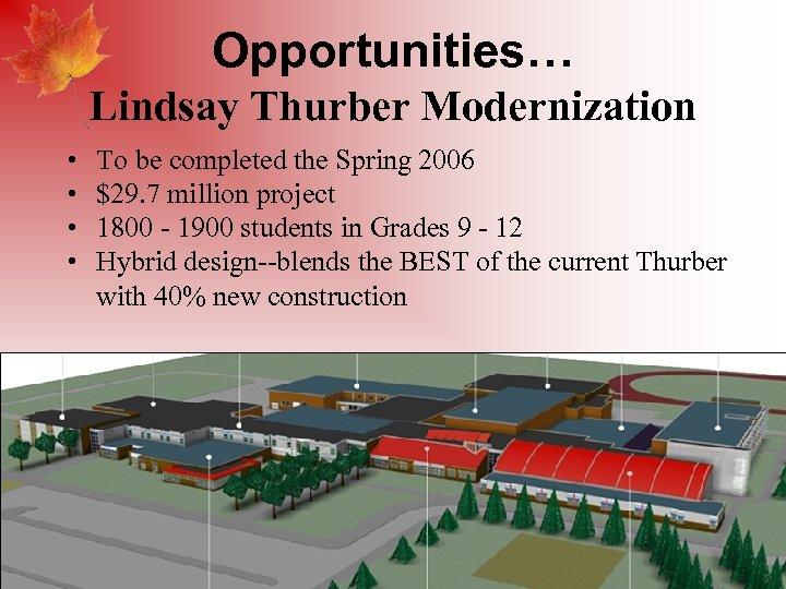 Opportunities… Lindsay Thurber Modernization • • To be completed the Spring 2006 $29. 7