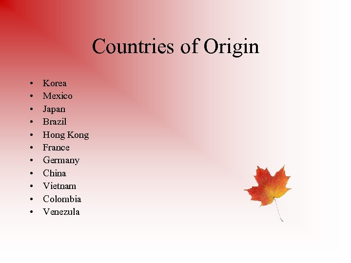 Countries of Origin • • • Korea Mexico Japan Brazil Hong Kong France Germany