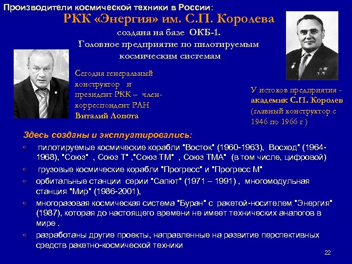 Производители космической техники в России: РКК «Энергия» им. С. П. Королева создана на базе