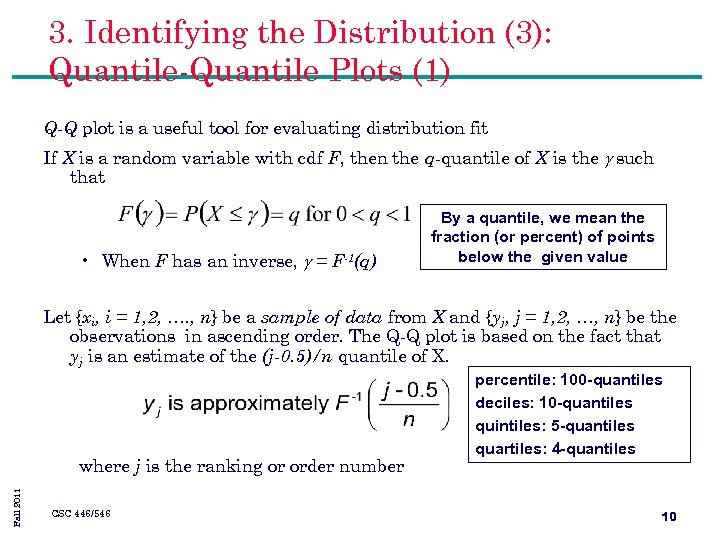 3. Identifying the Distribution (3): Quantile-Quantile Plots (1) Q-Q plot is a useful tool