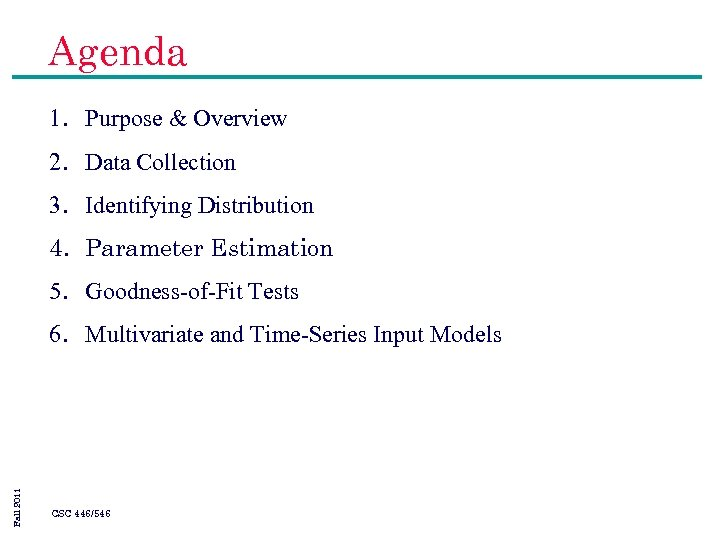Agenda 1. Purpose & Overview 2. Data Collection 3. Identifying Distribution 4. Parameter Estimation