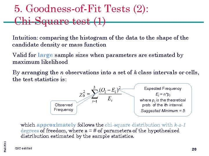5. Goodness-of-Fit Tests (2): Chi-Square test (1) Intuition: comparing the histogram of the data